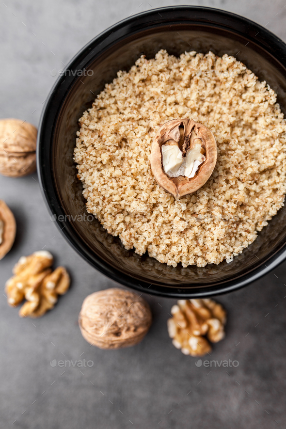 Delicious walnuts on rustic background - Stock Photo - Images