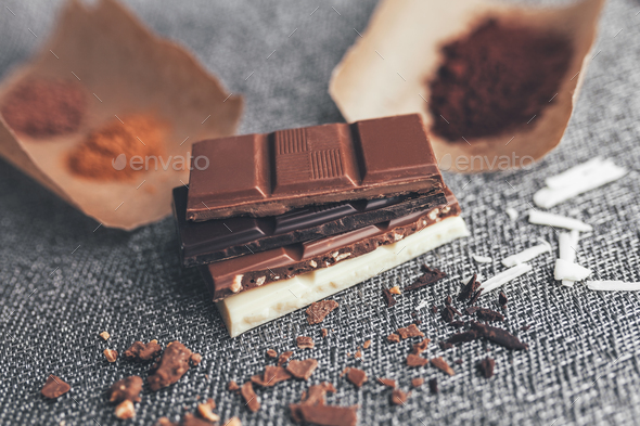 Delicious chocolate on rustic background - Stock Photo - Images