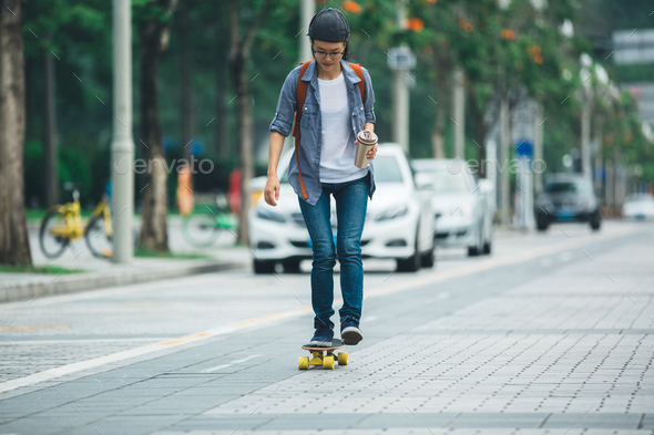 Skateboarding at city - Stock Photo - Images