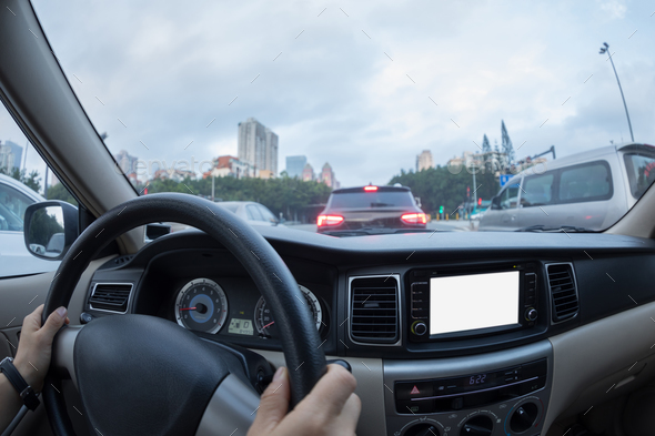 Driving in city - Stock Photo - Images
