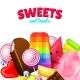 Realistic Sweet Candies Background