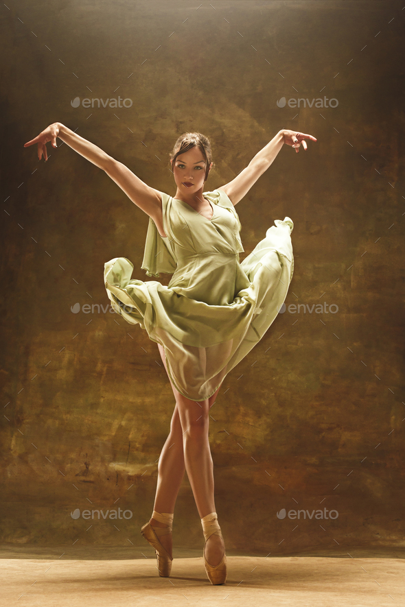Young ballet dancer - Harmonious pretty woman with tutu posing in studio - - Stock Photo - Images