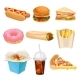 Flat Vector Set of Fast-Food Icons