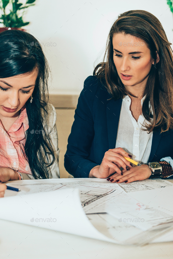 Architects examining plans - Stock Photo - Images