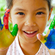 Asian Children Showing Her Painting Hand - VideoHive Item for Sale