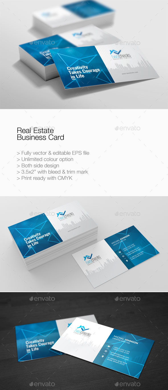 Real Estate Business Card by PantonStudio | GraphicRiver