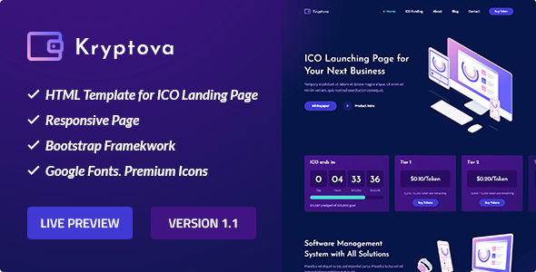Kryptova - ICO Landing Page, ICO Bitcoin and Cryptocurrency Template Free Download | Nulled