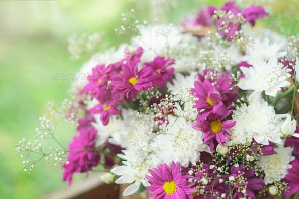 Close up of decorate bouquet in the garden - Stock Photo - Images