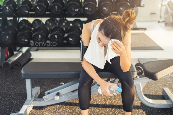 Young sport woman in gym, Fitness ,training lifestyle concept - Stock Photo - Images