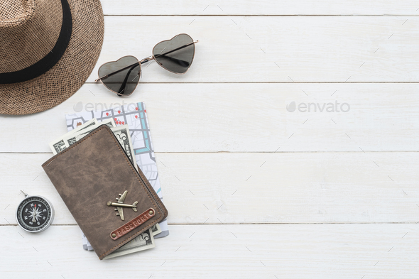 Traveler accessories with passport and map, Travel concept - Stock Photo - Images