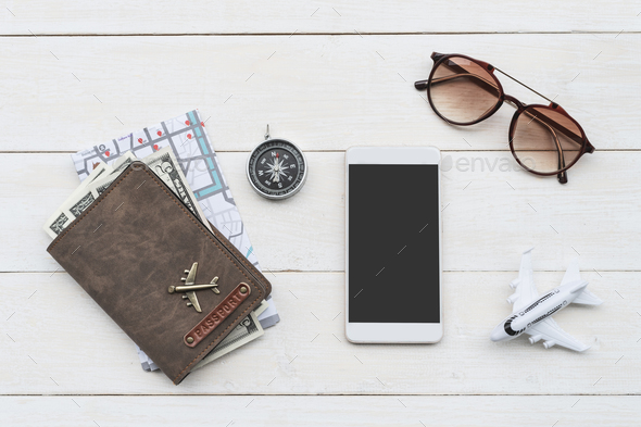Traveler accessories with smart phone and passport, Travel concept - Stock Photo - Images
