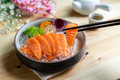 Salmon sashimi slice fresh serve on ice with tea, Japanese style - PhotoDune Item for Sale