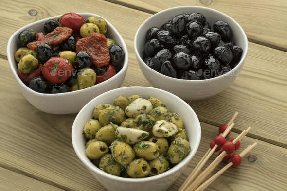 Bowls with different olives - Stock Photo - Images