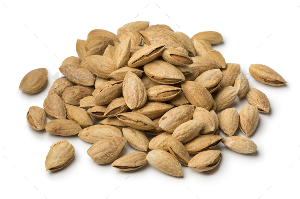Heap of fresh unpeeled almonds - Stock Photo - Images