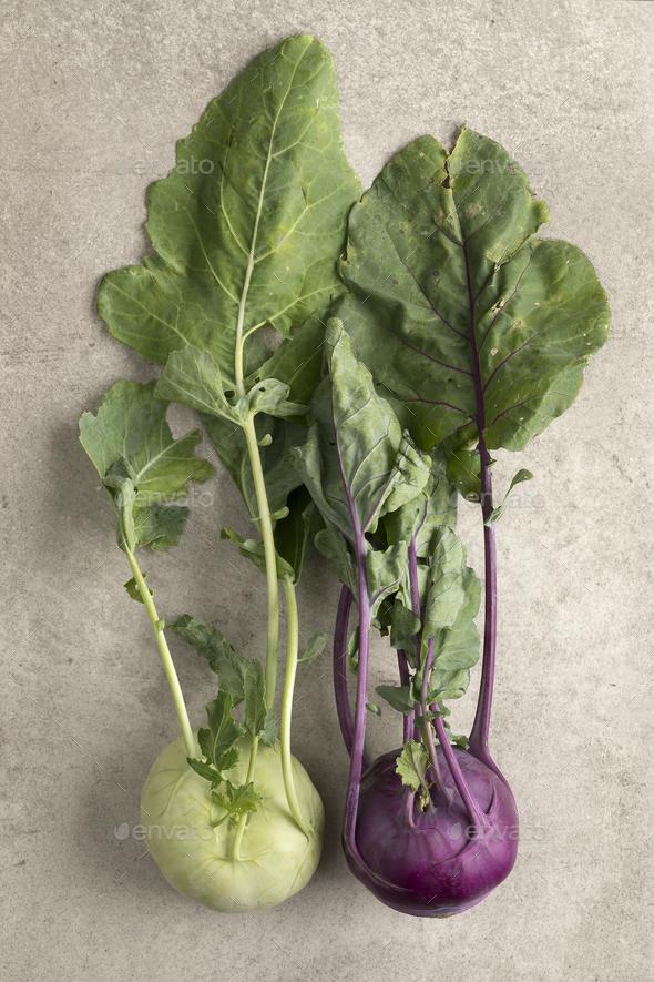 Fresh green and purple kohlrabi - Stock Photo - Images