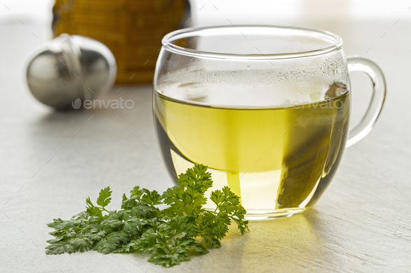 Cup of healthy chervil tea - Stock Photo - Images