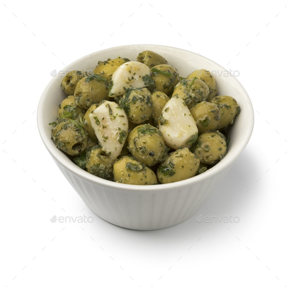 Bowl with green olives, garlic and cilantro - Stock Photo - Images