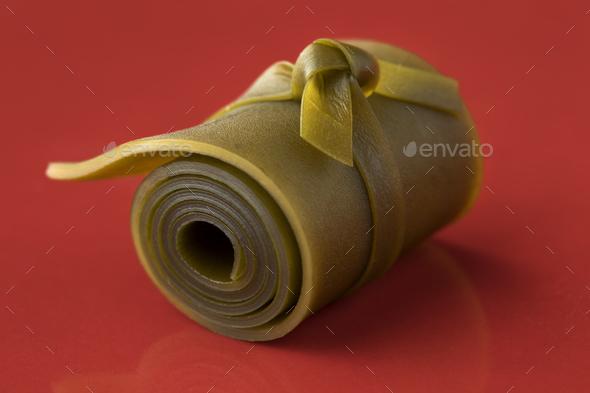 Roll of Japanese kombu soaked seaweed close up - Stock Photo - Images