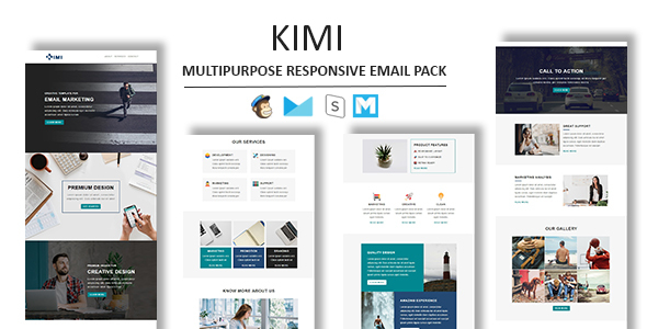 Kimi - Multipurpose Responsive Email Template With Stamp Ready Builder Access - Newsletters Email Templates
