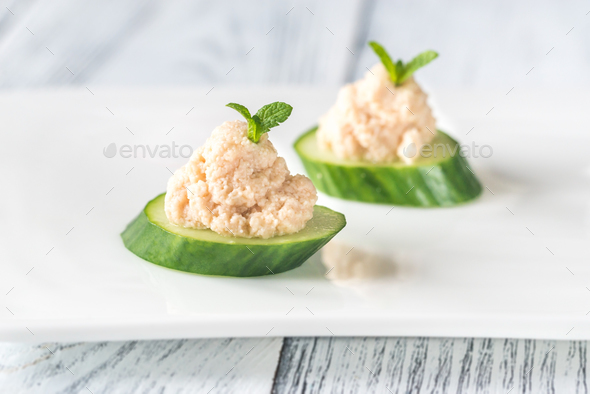 Cucumber caviar canapes - Stock Photo - Images