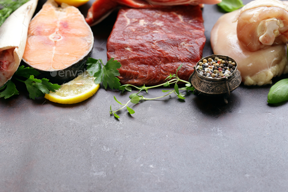 Raw Meat, Fish and Chicken - Stock Photo - Images