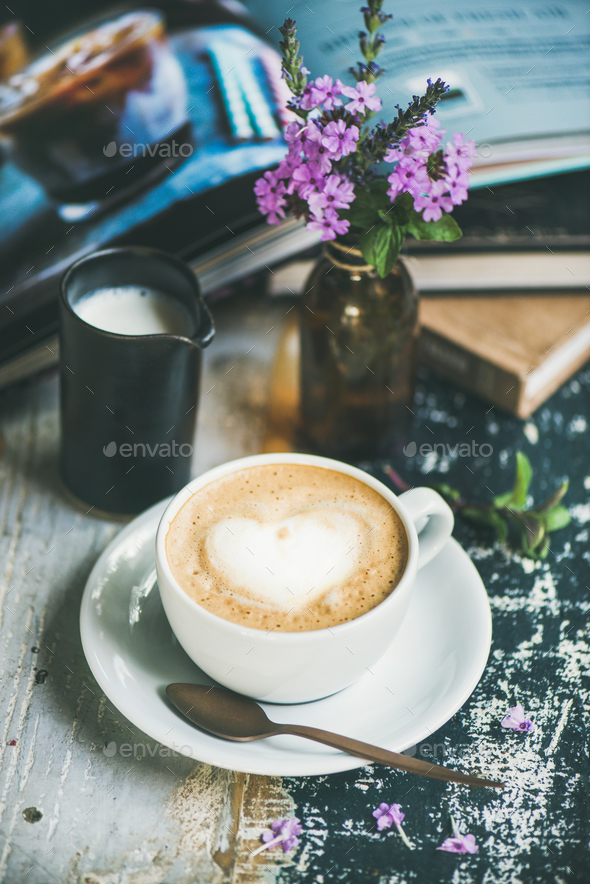 Classic foamy cappuccino coffee - Stock Photo - Images