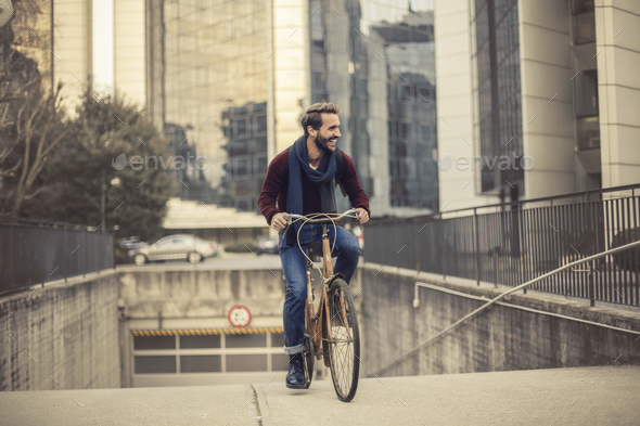 Man riding a bike - Stock Photo - Images