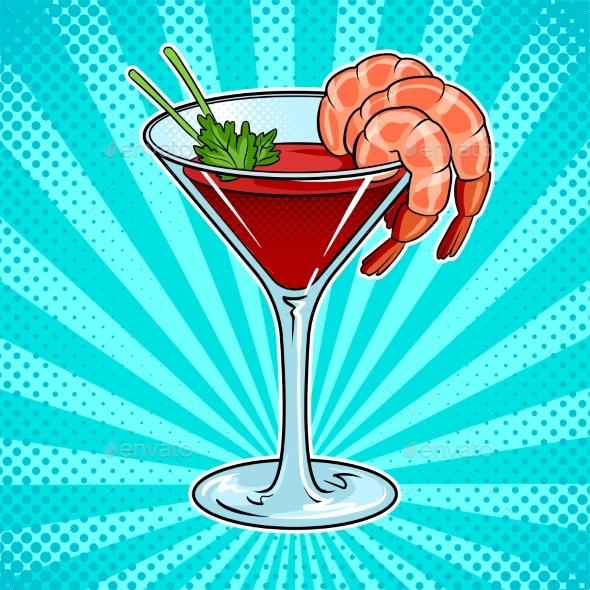 Shrimp Cocktail Pop Art Vector Illustration - Food Objects