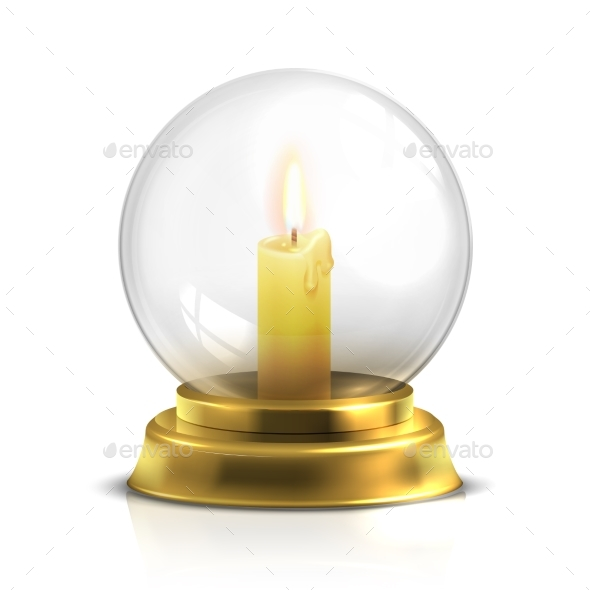Realistic Magic Ball with Light Candle Isolated on - Objects Vectors