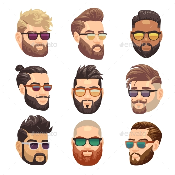 Cartoon Bearded Hipster Man and Male Hairstyle - People Characters