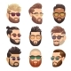 Cartoon Bearded Hipster Man and Male Hairstyle
