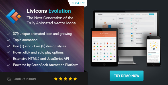 LivIcons Evolution for jQuery - The Next Generation of the Truly Animated Vector Icons - CodeCanyon Item for Sale