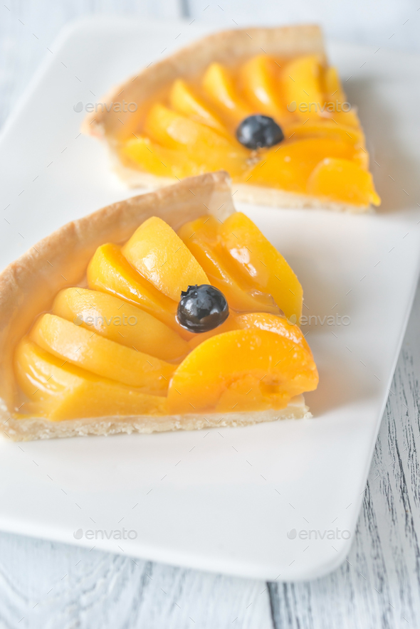 Tart with peaches and blueberry - Stock Photo - Images