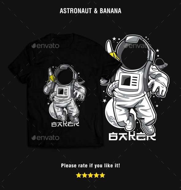 Astronaut & Banana T-Shirt Design - T-Shirts