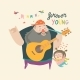 Father Playing Guitar Music to His Daughter - GraphicRiver Item for Sale
