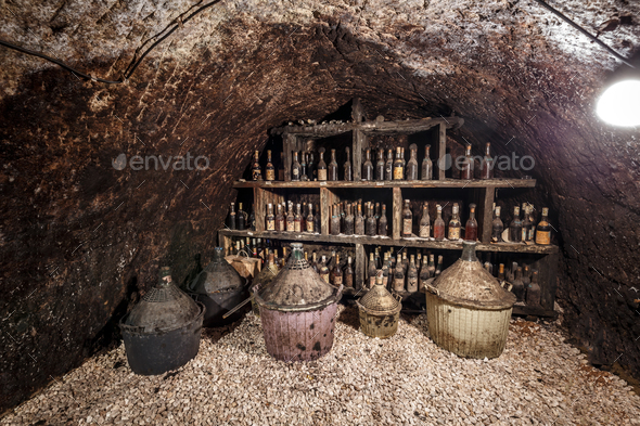 Old bottles of wine - Stock Photo - Images
