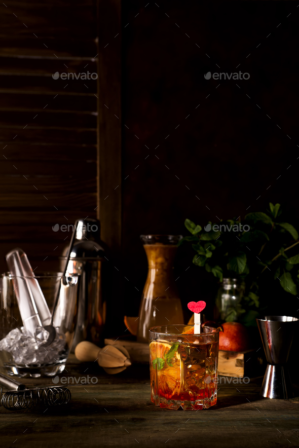Margarita coctail with ice and mint on wooden background - Stock Photo - Images