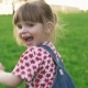 Little Girl Fun Running on Lawn in Park in Sunny Summer Day - VideoHive Item for Sale