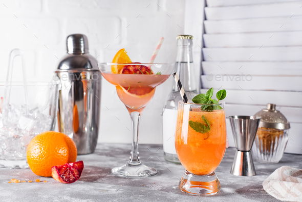 Paloma cocktail with fresh grapefruit, orange and mint - Stock Photo - Images