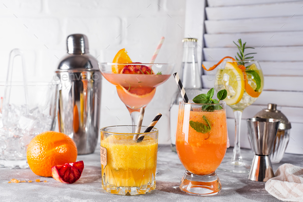 Refreshing summer cocktails with fruits and hot pepper, Bar accessories and fruits - Stock Photo - Images