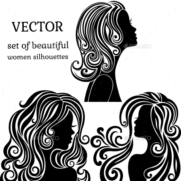 Set of Women Head Silhouettes with Curly Hair - People Characters