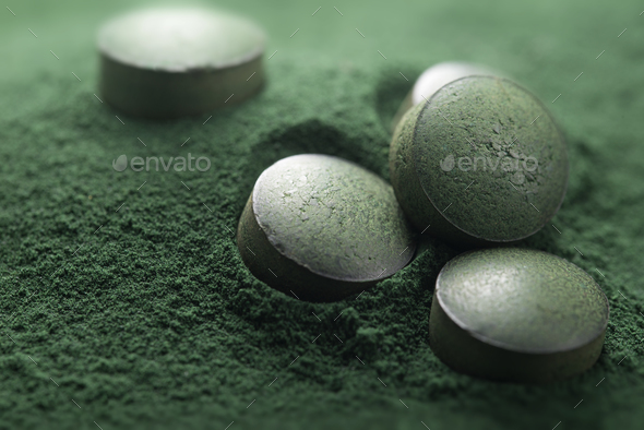 Spirulina Tablets ans Powder, Dietary Supplement - Stock Photo - Images