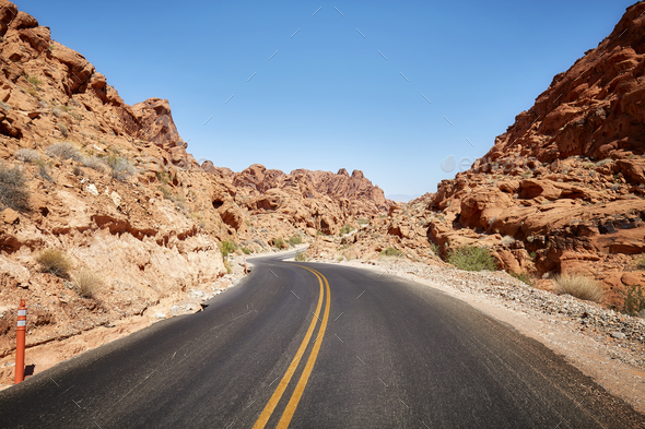 Scenic deserted road, travel concept. - Stock Photo - Images