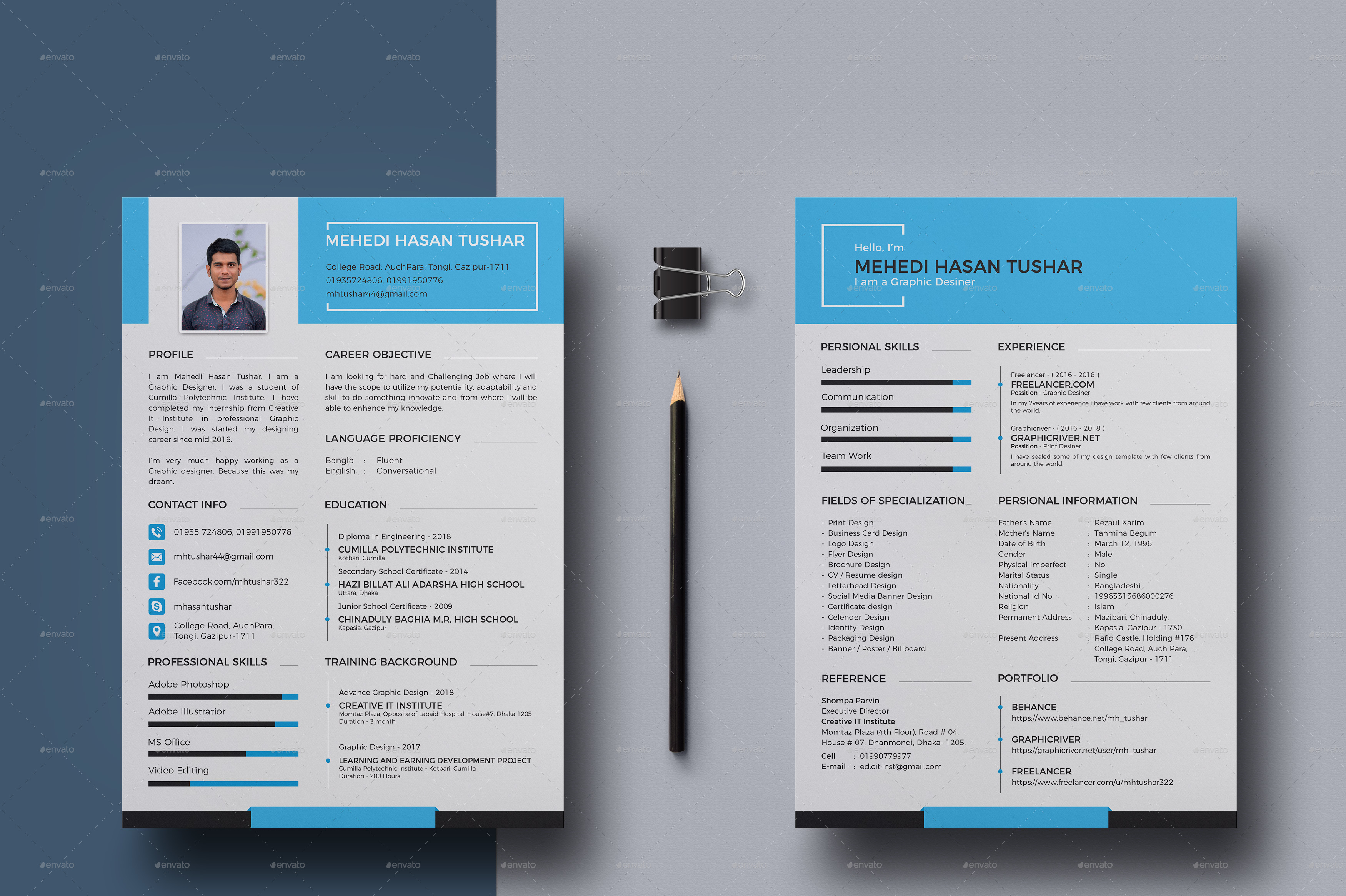 Personal Resume & Cover Letter by MH_Tushar | GraphicRiver