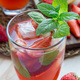 Homemade iced tea with strawberries and mint, vertical, closeup - PhotoDune Item for Sale