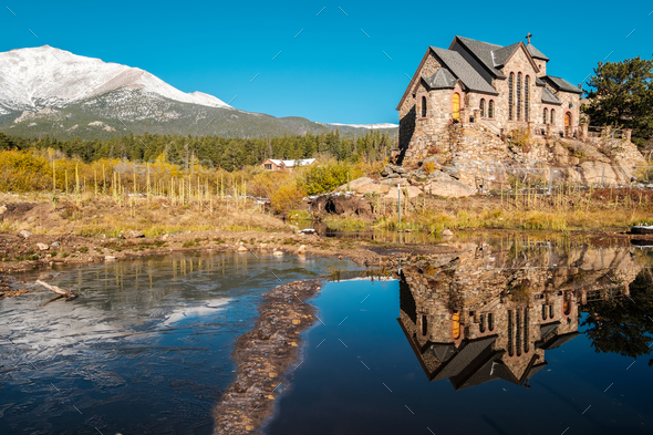 Chapel on the Rock near Estes Park in Colorado - Stock Photo - Images
