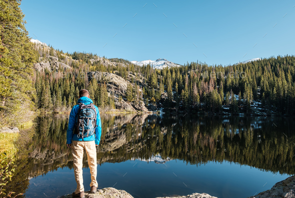 Tourist near Bear Lake in Colorado - Stock Photo - Images