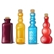 Set of Notched Glass Colored Bottles - GraphicRiver Item for Sale