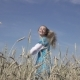 Happy Young Slender Woman with a Long Fair Hair in a Blue Dress Rotates in the Field of Ripe Wheat - VideoHive Item for Sale