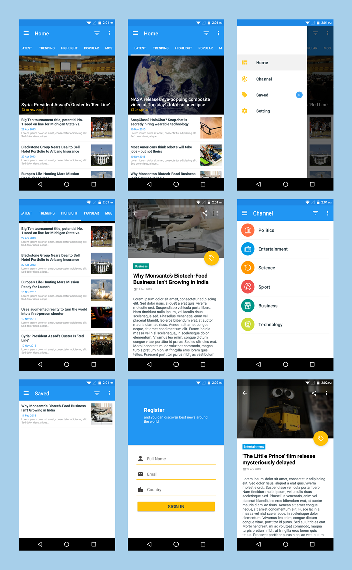 Android Material UI Template By Dreamspace CodeCanyon - E news template